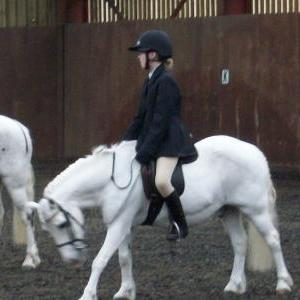 Katherine Riding Snowy For Dressage =)
